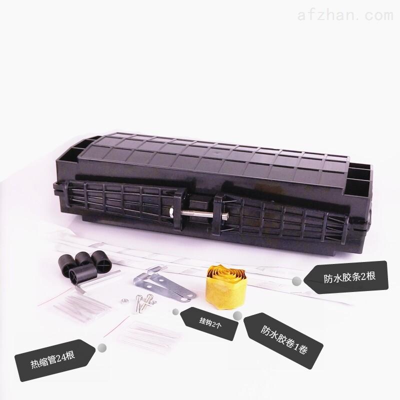 光缆接头盒内部结构: 1. 支撑架:是内部构件的主体。 2. 光缆固定装置:用于光缆与底座固定和光缆加强元件固定。一是光缆加强芯在内部的固定;二是光缆与支撑架夹紧的固定;三是光缆与接头盒进出缆用热缩护套密封固定。 3. 光纤安放装置:能有顺序地存放光纤接头和余留光纤,余留光纤的长度应不小于1米,余留光纤盘放的曲径不小于35mm。其中收容盘多可四层,容量较大,并能根据光缆接续的芯数调整收容盘。 4.