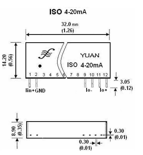 ISO 4-20mA 电流环隔离芯片是单片两线制隔离接口芯片,该IC 内部包含有电流信号调制解调电路、信号耦合隔离变换电路等。很小的输入等效电阻,使该IC 的输入电压达到超宽范围(7.5—32V),以满足用户无需外接电源而实现信号远距离、无失真传输的需要。内部的陶瓷基板、印刷电阻工艺及新技术隔离措施使器件能达到3KVAC 绝缘电压和工业级宽温度、潮湿、震动的现场恶劣环境要求。ISO 4-20mA 系列产品使用非常方便无需外接任何元件即可实现4-20mA 电流环隔离或信号一进二出、二进二出等变换