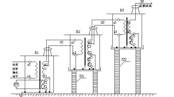 三台高压试验变压器串激工作原理示意图