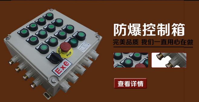 电机就地防爆控制箱 一、适用范围: 1.适用于爆炸性气体环境1区、2区; 2.适用于A、B、C级爆炸性气体环境; 3.适用于温度组别为T1-T6的环境; 4.适用于石油采炼、储存、化工、医药壁挂式防雨防爆控制箱 5.用于电气控制系统中,作为指令发送及状态监视之用; 6.本产品多方案可用,可根据用户提供的电气系统图进行生产。 二、电机就地防爆控制箱特点: 1.